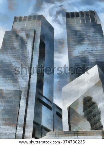 Draw pictures of buildings and skyscrapers in the United States, Manhattan, New York