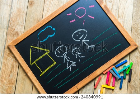 Draw sweet home on black board - stock photo