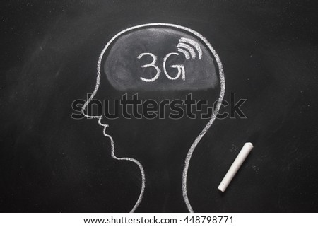 Draw the shape of a human head on the blackboard ( 3g in the brain ) - stock photo