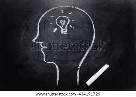 Draw the shape of a human head on the blackboard ( idea in the brain ) - stock photo