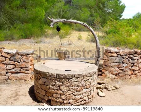 Draw well traditional mediterranean masonry in balearic islands - stock photo