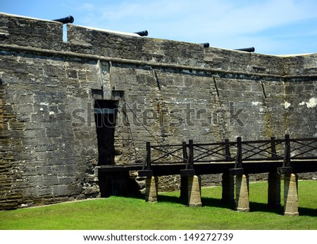 Drawbridge and cannons at Castillo de San Marcos fort - stock photo