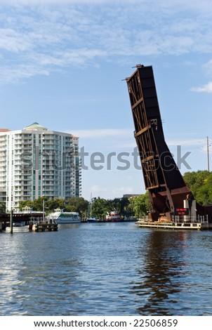 drawbridge in fort lauderdale,florida - stock photo