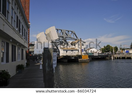 Drawbridge, Mystic, Connecticut, USA - stock photo