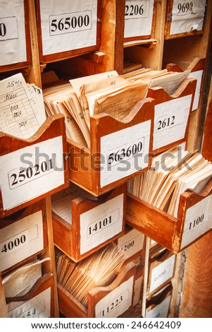 Drawer with business papers organized in archive - stock photo
