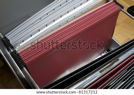 drawers and folders to organize important documents - stock photo
