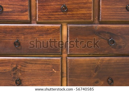 Drawers of a Wooden Dresser - stock photo