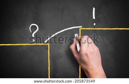 drawing a bridge to the solution - stock photo