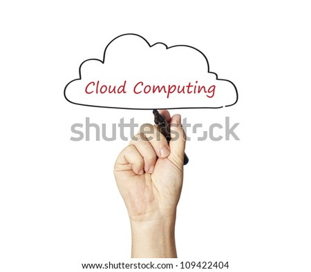 drawing a Cloud Computing diagram on the whiteboard