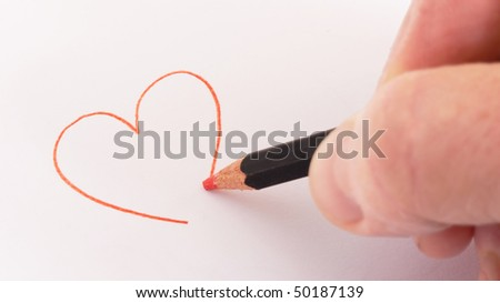Drawing a heart - stock photo