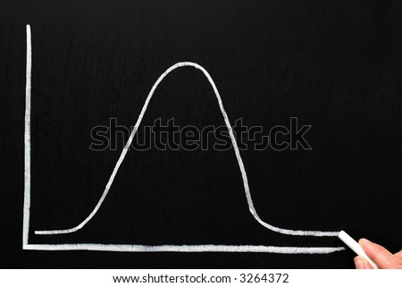 Drawing a normal distribution bell curve on a chalkboard. - stock photo