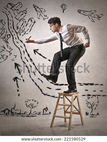 Drawing a path to your dreams - stock photo
