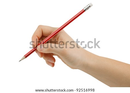 Drawing a pencil eraser in hand with white background