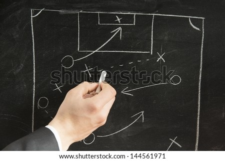 Drawing a Soccer strategy schema in a blackboard - stock photo