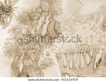 Drawing and Painting Artistic Illustration of Fantasy World with Characters - stock photo