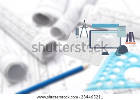 Drawing and various tools with added graphic icons - stock photo