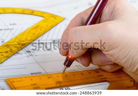 drawing architect blueprints plan - stock photo