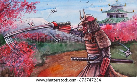 Drawing Art With Japanese Samurai Sword In The Garden Cherry Blossoms Is Made By