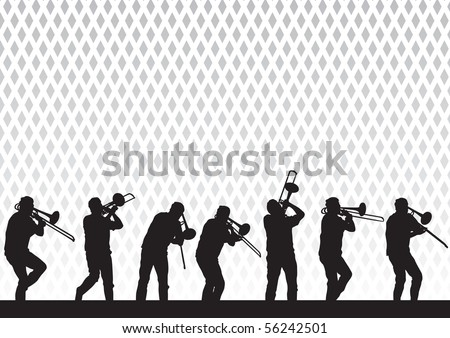 drawing artist with a trombone on stage during a performance - stock photo