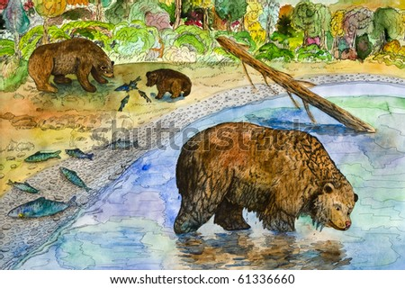 "Drawing ""Bears on fishing"" - stock photo"