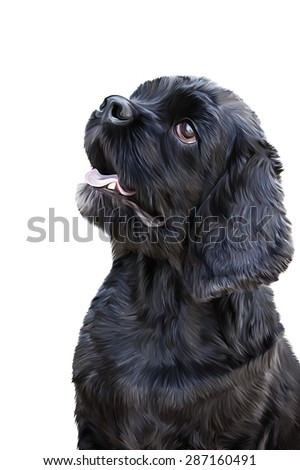 Drawing  black dog, portrait on a white background
