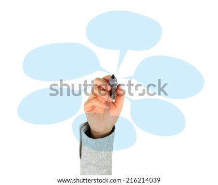 Drawing Blank speech bubbles - stock photo