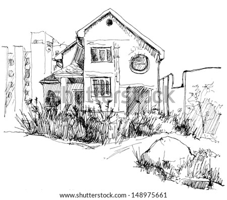 Drawing building sketch, isolated on white