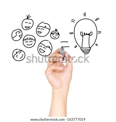 Drawing bulb light concept - stock photo