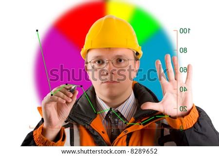 drawing business chart - stock photo