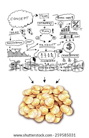 drawing business concept and pile of gold coins - stock photo