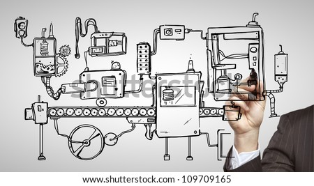 drawing business concept in book on a black background - stock photo