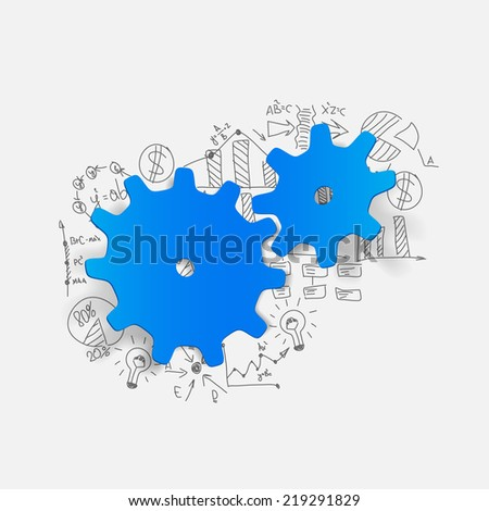 Drawing business formulas: cogwheel - stock photo