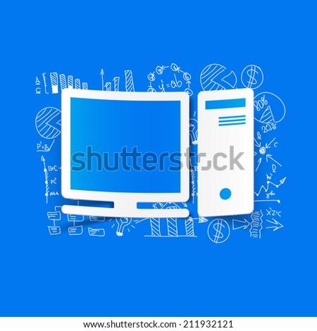 Drawing business formulas: computer - stock photo