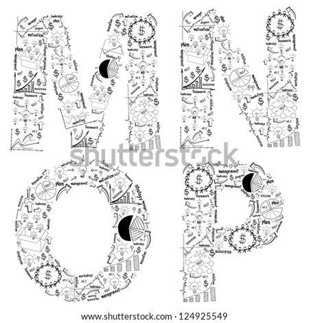 drawing business strategy plan concept idea of alphabet letters, ( m n o p ) isolated on white With Jpeg Version - stock photo