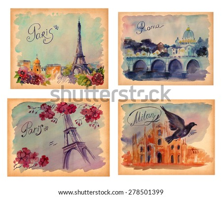 drawing by hand on wright paper beautiful background with Paris, with Milan, Rom,. Watercolor illustration with Eiffel Tower, view of the city with high and many beautiful flowers. inscription by hand