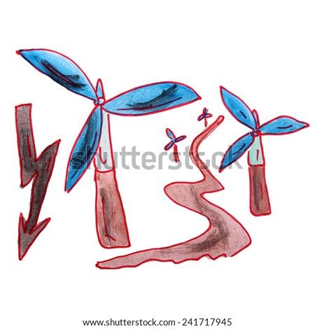 drawing children watercolor wind energy cartoon on a white background - stock photo