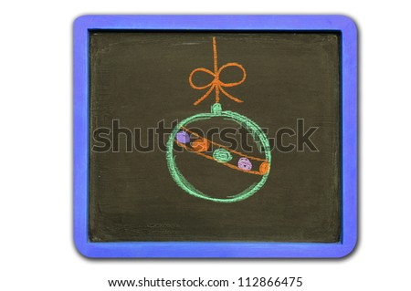 Drawing Christmas Ball on Blackboard - stock photo