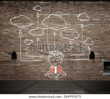 drawing cloud network on the wall - stock photo