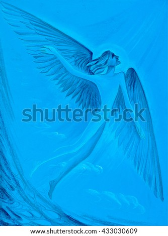 drawing colored wax crayons. Angel. angels are specifically designed to lend a hand to those who believe in the Lord - stock photo
