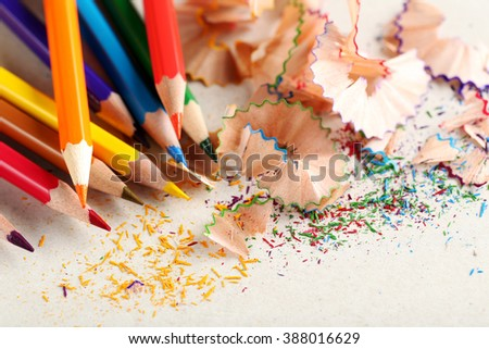 Drawing colourful pencils on a white background, close up - stock photo