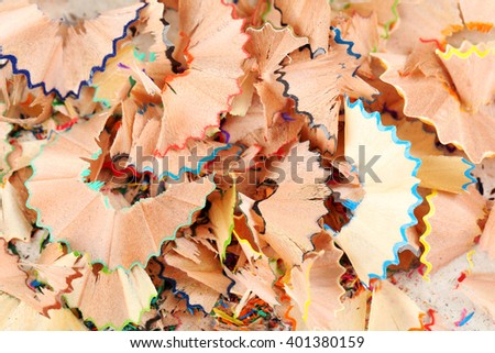Drawing colourful pencils shavings background, close up - stock photo