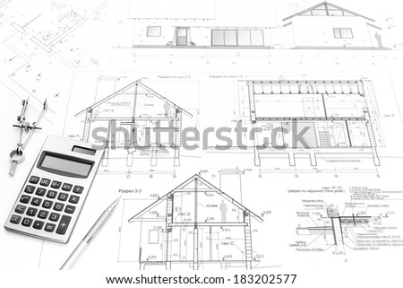 modern architectural drawings. Drawing Compass, Calculator, Pencil And Architectural Drawings Of Modern House