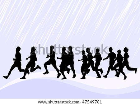 drawing competitions in running. Silhouettes of boys running