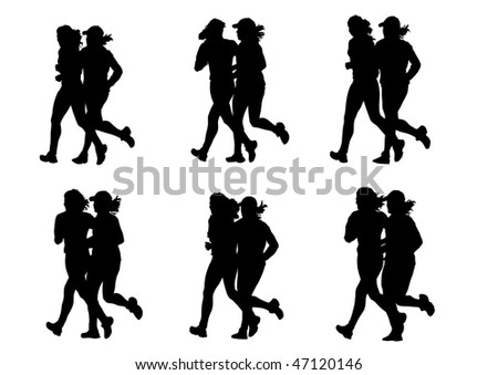 drawing competitions in running. Silhouettes of two girls running