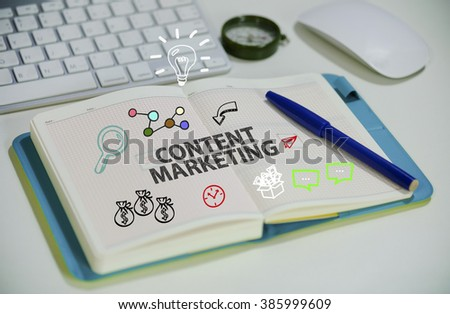 drawing CONTENT MARKETING concept on notebook in the office , business concept , business idea , strategy concept