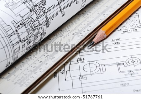 Drawing detail and pencil - stock photo