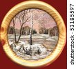 Drawing distemper on a birch bark: spring landscape in a round wooden frame - stock photo