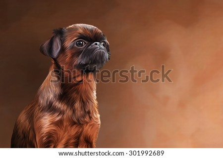 Drawing Dog breed Griffon Brabanson, portrait on a color background