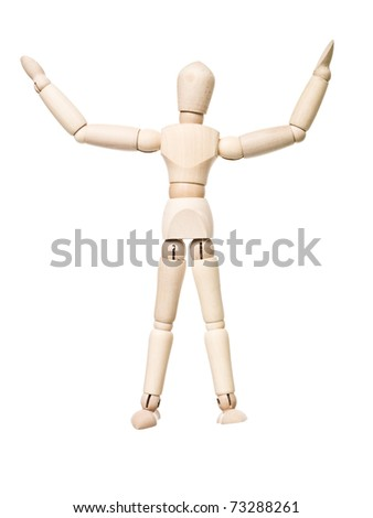 Drawing doll with arms raised isolated on white background