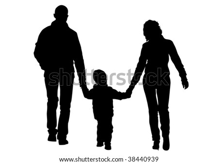 drawing families with a child for a walk. Silhouettes on a white background